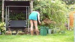 Voyeur camera peeping on neighbor woman filming upskirt