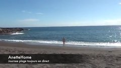 Nudist wife masturbating at the beach