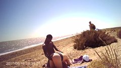 Dirty old nudists jerking off watching couple at the beach