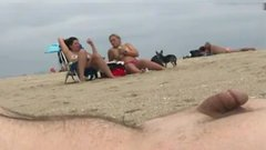 Flashing the dick at the beach and ejaculating in public