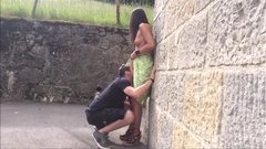 Tourist couple doing outdoor sex in public