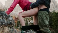 Hikers go for a walk in mountains and do a quick fuck in the woods