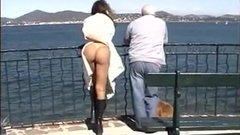 Woman flashing nude in public